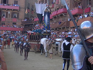 Palio di Siena - The carroccio of Siena during the Corteo Storico procession preceding the Palio of August 2006