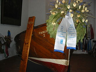 Pamir (ship) - Pamir memorial in St Jakob's Church, Lübeck, showing one of the lifeboats