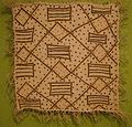 Panel, Bushong people, mid-20th century, raffia palm fiber, plain weave, openwork embroidery, and wrapping, HMA.JPG
