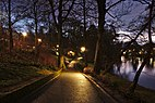 Parc Tenreuken looking South from the West side during the sunset civil twilight, Auderghem, Belgium (DSCF3750).jpg