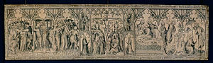 International Gothic - The Parement of Narbonne by the French Master of the Parement, 1364–78, a painted silk altar frontal with donor portraits of the King and Queen
