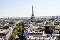 Paris and Eiffel Tower from the Arc de Triomphe, Paris 20 August 2013.jpg