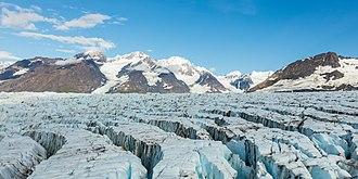 Chugach State Park - Aerial view of a glacier in Chugach State Park