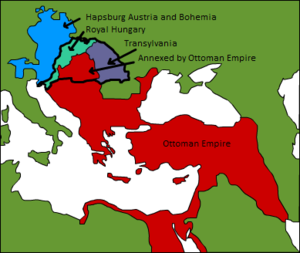 Military history of Hungary - After the Battle of Mohács, Kingdom of Hungary fell apart. The southern part, as a result of Ottoman conquest, was annexed by the Ottoman Empire. The eastern region broke off from Hungary, and became a vassal state of the Ottoman Empire. Habsburg Austria claimed a section, known then as Royal Hungary.