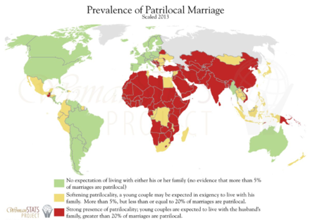 Prevalence of Patrilocal marriage Patrilocalmarriage.png