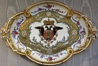 "Manufacture nationale de Sèvres - Hard-paste porcelain plate from a set of 8 pieces, with the monogram (in Roman letters) ""PP"" for Paul I of Russia (Pavel Petrovitch), 1773."