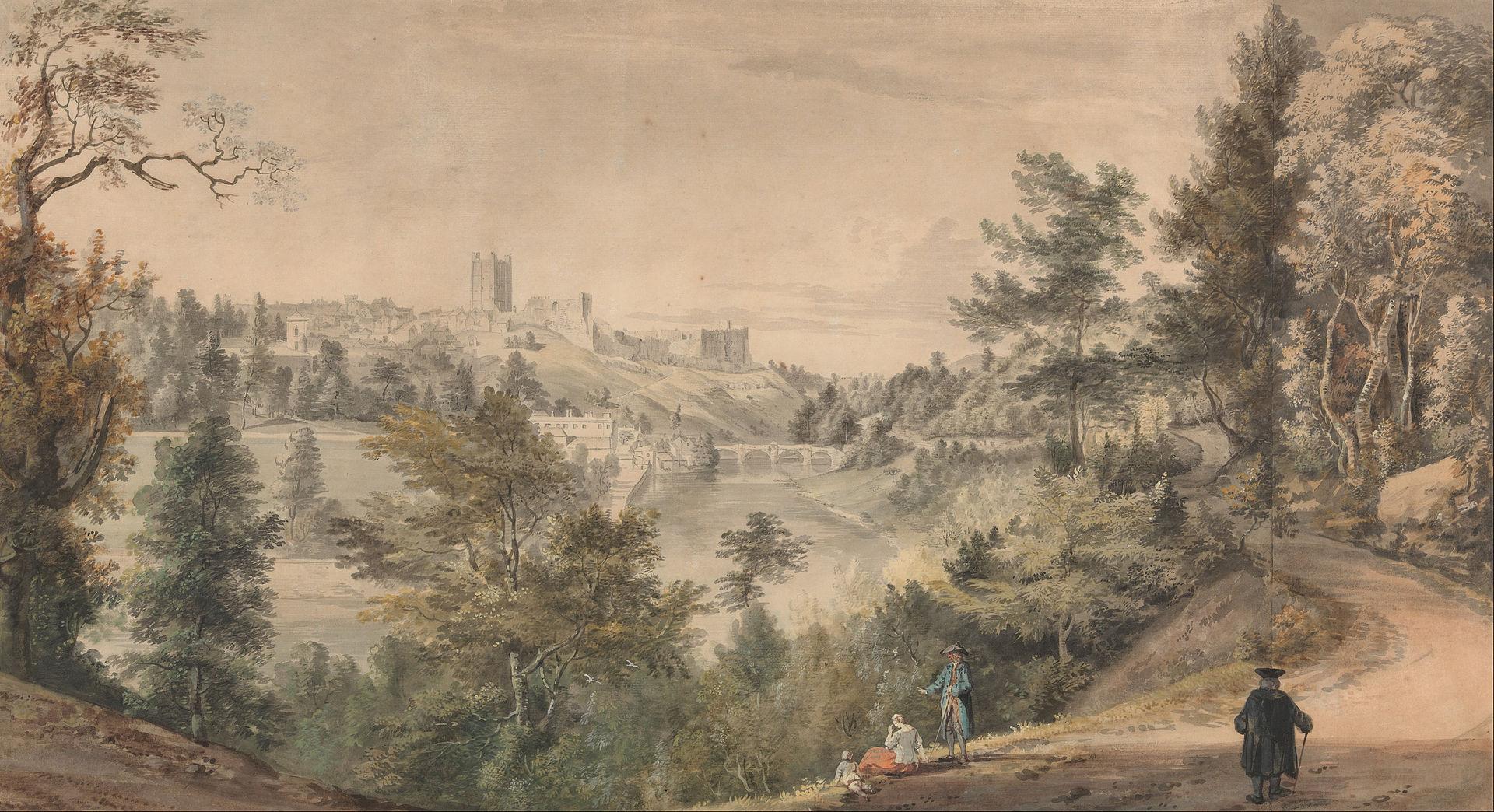 Пол Сэндби - Вид на Ричмондский замок, Йоркшир - Google Art Project.jpg