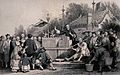 People have gathered around a stand to watch a puppet show, Wellcome V0040140.jpg
