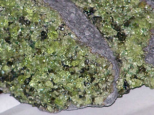 Olivine - Light green olivine crystals in peridotite xenoliths in basalt from Arizona