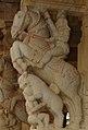 Person riding horse in Yali pillars1 at Ranganatha temple in Rangasthala, Chikkaballapur district (cropped).jpg
