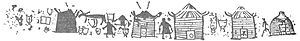 Hut - Drawings of petroglyphs from the Tagar Culture, 1st millennium BC in Krasnoyarsk Krai, Russia.