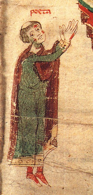 Peter of Eboli - Self-portrait, the tonsured poeta himself, in Liber ad honorem Augusti, 1196.