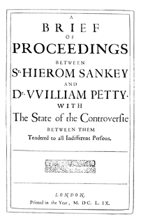 <i>Proceedings between Sankey and Petty</i> pamphlet written by William Petty, and published 1659