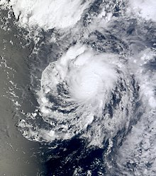 A visible satellite image of an organized tropical storm over the Central Pacific on August 17