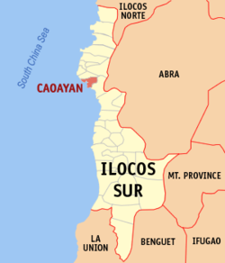 Map of Ilocos Sur showing the location of Caoayan