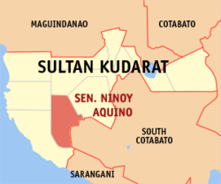 Map of Sultan Kudarat with Senator Ninoy Aquino highlighted