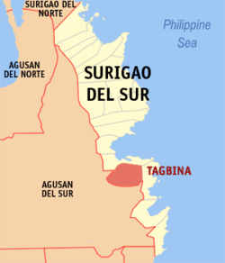Map of Surigao del Sur showing the location of Tagbina