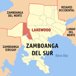 Map of Zamboanga del Sur with Lakewood highlighted