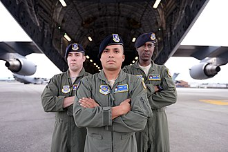 The 627th Security Forces Squadron of the Phoenix Ravens security force pose with a C-17 aircraft Phoenix Ravens.jpg