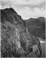 Photograph from Side of Cliff with Boulder Dam Transmission Lines Above and Colorado River to the Left, 1941 - NARA - 519848.tif