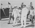 Photograph of President Truman during a tour of the submarine base at Key West, Florida, with Assistant Press... - NARA - 200489.tif