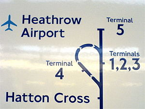 Heathrow Terminal 4 tube station - Terminal 4 is located on the clockwise loop on the left. Access to Terminal 4 from the other terminals via the free travel area requires a change at Hatton Cross.