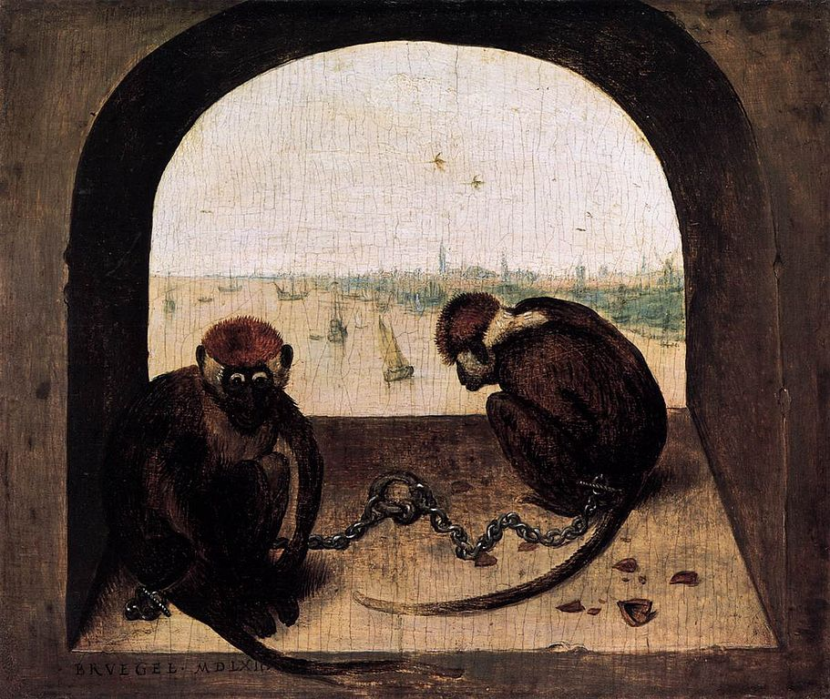 https://upload.wikimedia.org/wikipedia/commons/thumb/9/99/Pieter_Bruegel_the_Elder_-_Two_Chained_Monkeys_-_WGA3524.jpg/911px-Pieter_Bruegel_the_Elder_-_Two_Chained_Monkeys_-_WGA3524.jpg