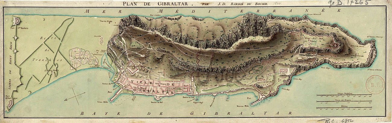 A map of Gibraltar and its fortifications, drawn in 1799 by Jean-Denis Barbie du Bocage Plan de Gibraltar - Barbie du Bocage.jpg