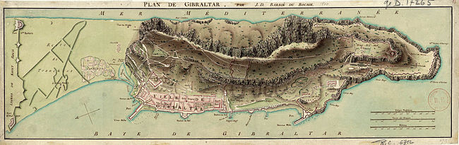 Map of Gibraltar by Jean-Denis Barbié du Bocage, annotated in French.