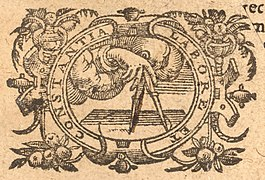 Plantin emblema from title page of Lucanus, De bello civili ed. Pulmann (1592).jpg