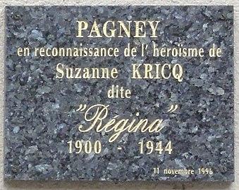 Plaque à Suzanne Kricq (Pagney-derrière-Barine).JPG