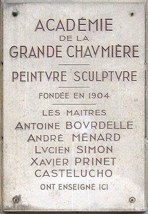 Académie de la Grande Chaumière - Plaque of the Académie de la Grande Chaumière