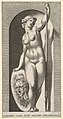 Plate 20- Pallas Athena holding a shield with Medusa's head in her right hand and a lance in her left hand, from a series of mythological gods and goddesses MET DP830882.jpg