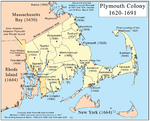 Map of Plymouth Colony showing town locations