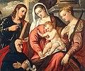 Polidoro de Renzi Polidoro da Lanciano - Maria mit Kind, Johannes dem Evangelisten, der Heiligen Katharina von Alexandrien und einem Stifter.jpg