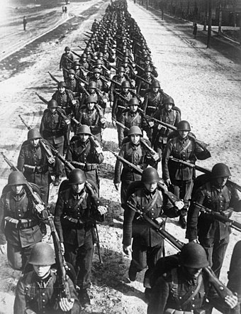 Soldiers of the Polish Army during the defence of Poland, September 1939 Polish infantry marching -2 1939.jpg