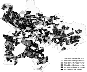 Demography of Glasgow - Population density in the 2011 census in Glasgow.