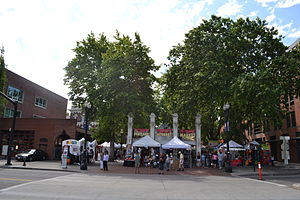 Portland Saturday Market - The market's Ankeny Square area, viewed from across SW Naito Parkway