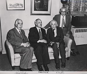 Niels Bohr - Bohr with James Franck, Albert Einstein and Isidor Isaac Rabi (LR)