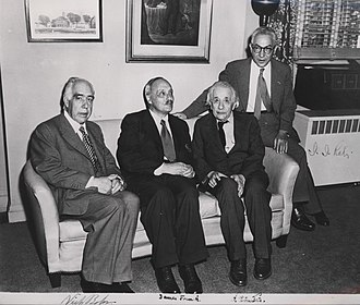 James Franck - Four Nobel Prize laureates. Franck between Niels Bohr and Albert Einstein, with Isidor Isaac Rabi in 1954