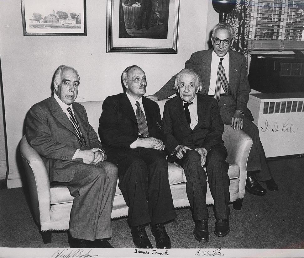 Portrait of Albert Einstein, Niels Bohr, James Franck and Rabi