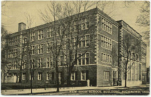 Richmond High School (Richmond, Indiana) - Postcard image of the former Morton High School building designed by William B. Ittner