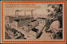 Postcard depicting the original Callebaut factory.