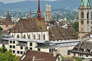 Predigerkirche Zürich - Predigerkirche as seen from ETH Zurich, the Zentralbibliothek building in the foreground
