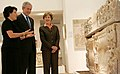 President George W. Bush and Laura Bush listen as they're guided through the Bible Lands Museum Jerusalem.jpg
