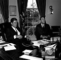 President John F. Kennedy with US Ambassador to Liberia, Charles Edward Rhetts.jpg