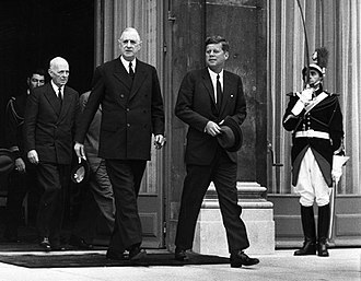 President John F. Kennedy and de Gaulle at the conclusion of their talks at Elysee Palace, 1961 President Kennedy and President De Gaulle at the conclusion of their talks at Elysee Palace, Paris, France.jpg