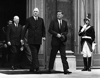 President Kennedy and President De Gaulle at the conclusion of their talks at Elysee Palace, Paris, France.jpg