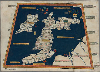 Great Britain - Prima Europe tabula. A copy of Ptolemy's 2nd century map of Roman Britain