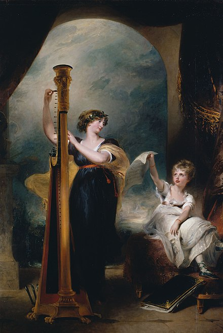 Caroline playing the harp for Charlotte in 1800. Caroline was later accused of having an affair with the artist Sir Thomas Lawrence while he was painting the portrait. Princess Charlotte of Wales and Duchess Caroline of Brunswick.jpg